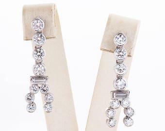 Vintage Earrings - Vintage 18k White Gold 1940's Diamond Dangle Earrings