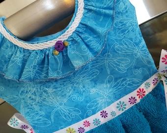 Dragonflies in Turquoise with Purple Accent Oven Door Dish Towel Dress