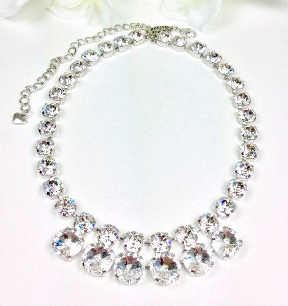"Swarovski Crystal 12MM/8.5mm - Radiant - ""Goddess"" Necklace - Designer Inspired  FREE SHIPPING  - SALE - Was 85. Now 65."