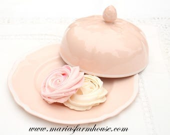 Vintage, English Bone  China Butter/Cheese Dome with Underplate by Old Staffordshire, Johnson Bros. Rose Dawn Pattern, Replacement China