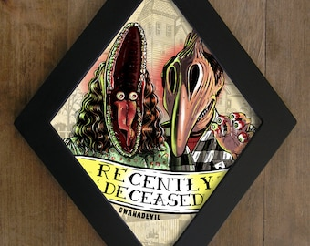 The Maitlands from Beetlejuice.  Recently Deceased Diamond framed print.
