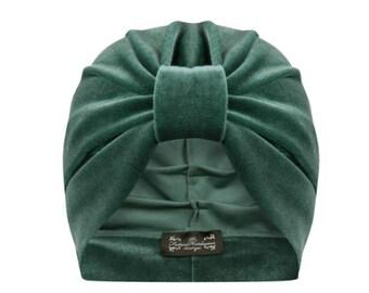 Ava Velvet Turban in Sage Green