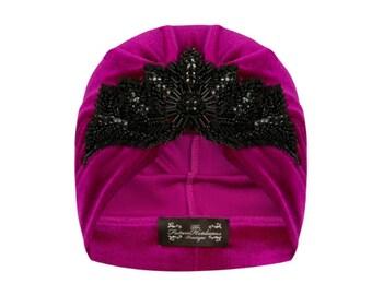 Rosalind Velvet Turban in Hot Pink