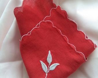 Vintage poppy red cotton handkerchief