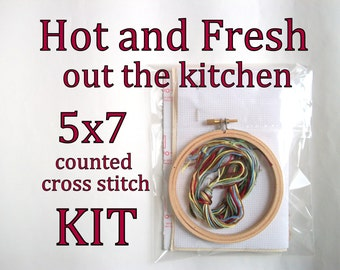 Cross Stitch Kit -- Hot and Fresh, cross stitch to hang in your kitchen area, patterned to fit in a 5x7 frame