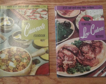 Vintage 1956 Culinary Arts Institute Cookbook Booklets- Tempting Low-Calorie Recipes  and The Casserole Cookbook