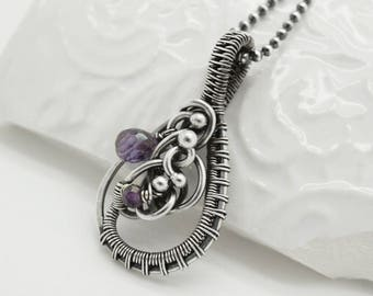 Amethyst necklace, Amethyst pendant, Purple gemstone pendant, Wire wrapped amethyst pendant, Silver amethyst pendant,