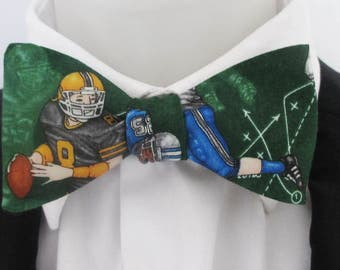 Mens Bowtie  ~in a fun american football design  ~ novelty bowtie ~ choice of fittings ~ neoud ~ tie ~ cravat