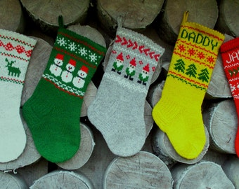 Christmas Stockings Personalized Wool Small Hand knit Red Grey White Blue Yellow Green Gnomes Trees Deer Snowflake ornaments