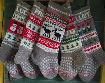 Christmas Stocking Personalized Wool Hand knit Gray Red Green White Deer Santa Gnomes Snowman Snowflakes Trees