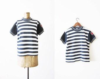 90s shirt / striped shirt / 90s Esprit Shirt / Mockneck Shirt / Black White Stripe Shirt / Grunge Shirt / 90s Striped TShirt