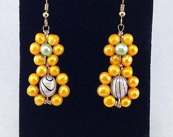 Beaded earrings,statement earrings,Bright spring colors,beaded pearl earrings,dangle earrings,drop earrings,orange,gold earrings,bridesmaid