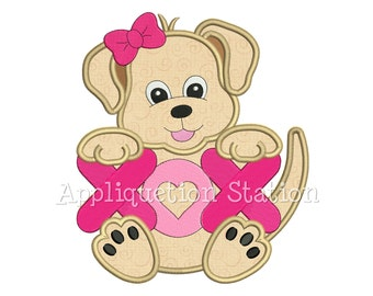 Puppy Love Girl Applique Machine Embroidery Design Pattern Valentine XO Hugs Kisses Dog animal INSTANT DOWNLOAD
