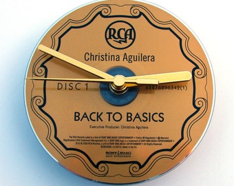 "Christina Aquilera CD Clock, ""Back To Basics"", Recycled music cd, gold colour, Gift for women, girls, rock chick, alternative, co-worker"