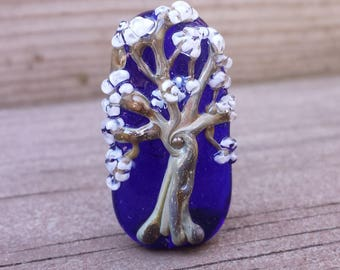 Lampwork Glass Tree Focal Bead on a gorgeous transparent cobalt blue base.