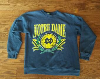Notre Dame fighting irish crewneck sweatshirt giant graphic Large