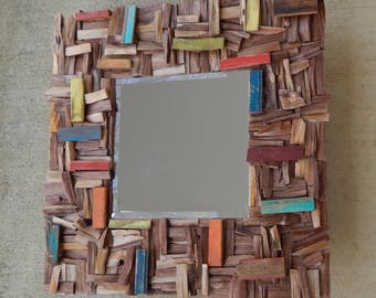 Colorful Square Reclaimed Wood Mirror, Ready to Ship