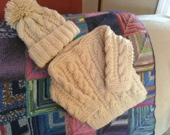 Cabled Irish Baby Set
