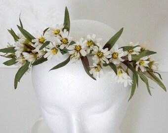 Flower crown wedding, Rustic Ivory Green Head Wreath, Wedding Flower Crown, greenery flower crown, flower headband