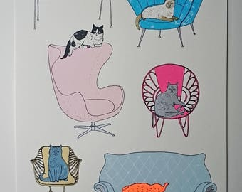 cat screenprint  - Some Cats Prefer Not to Sit on Mats