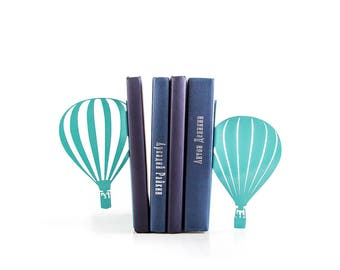 Bookends Hot Air Balloon // Traveler's adventure theme nursery // teen's room decor // Free Shipping // Gift for travel lover