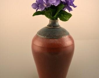 Blue/geen and cinnamon red  ceramic Vase-Red vase -  Vase- Ceramic Bottle