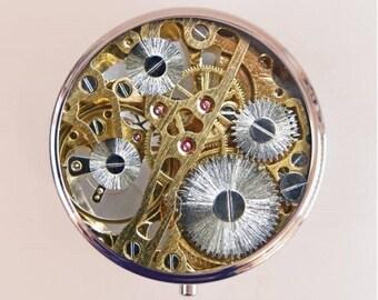 Steampunk Gears Pill Box Case Pillbox Holder Stash Trinket Box Brass Gear Victorian Clock Mechanical