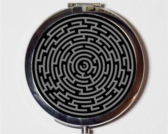 Labyrinth Maze Compact Mirror - Puzzle Game - Make Up Pocket Mirror for Cosmetics