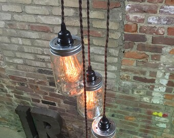Jar Chandelier Swag Light -Black Canopy, Twisted Cloth Cord - Hanging Pendant Lights - Plug in! No Hard Wiring!! Great for your Edison Bulbs