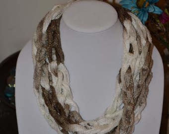 Brown and Cream Scarf/Necklace - Many Colors Available!