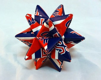 Small Origami Star Made From Licensed University of Mississippi Paper, Ole Miss Ornament, Ole Miss Rebels Decoration