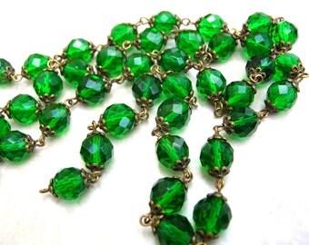 29 Inches Handmade Bead Chain - Emerald Green Bead Chain - Vintage Style Bead Chain - 10mm