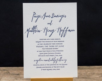 Lizza Letterpress Wedding Invitation Suite - DEPOSIT