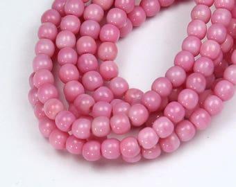 Opaque Pink Czech Glass Beads, 4mm Round- 100 pcs - e7302-04