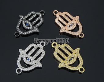 4# Clear Zircon Gemstones Pave Lucky Eye Hamsa Hand Bracelet Connector Charm Beads Silver Gold ...