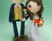 Wedding Cake topper Picnic theme clay doll,sweetheart neckline wedding gown clay miniature, picnic basket and blanket clay figure,great gift