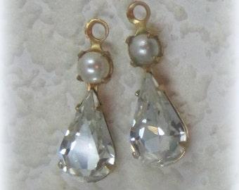 Swarovski Crystal White Pearl 22MM Multi Stone Brass Rhinestone Pear Teardrop 1 Loop