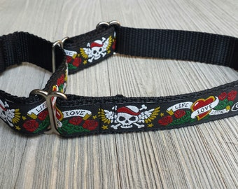 "1"" Wide Jacquard Martingale Collar, Skull, Love Life Pattern"