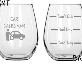 Car Salesman Sand Carved Glass FREE Personalization