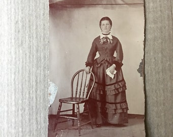 Civil War Era Tintype Photo Beautiful Woman with Handkerchief