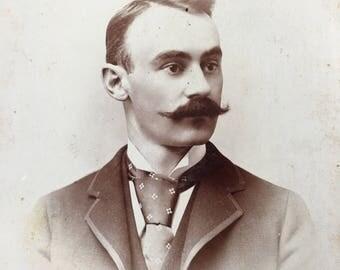 Fab Mustache Victorian Hottie Vintage Photo Cabinet Card