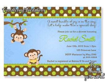 Monkey Boy Baby Shower Invitation | Jungle Baby Boy Shower | Jungle Baby Shower | Monkey Shower Invite Printable | Boy Shower Invitation