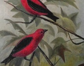 Small Oil Painting on Board of Scarlet Tanager Birds Signed and Titled