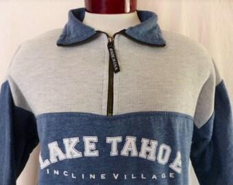 vintage 90s Incline VIllage Lake Tahoe California color block heather grey light blue fleece half zip graphic sweatshirt white logo print XL