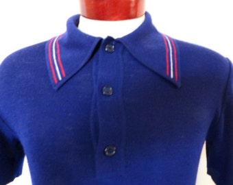 vintage 60s 70s K-Mart solid navy blue acrylic knit polo shirt red white stripe trim big collar tennis shirt mod preppy soul slim fit medium