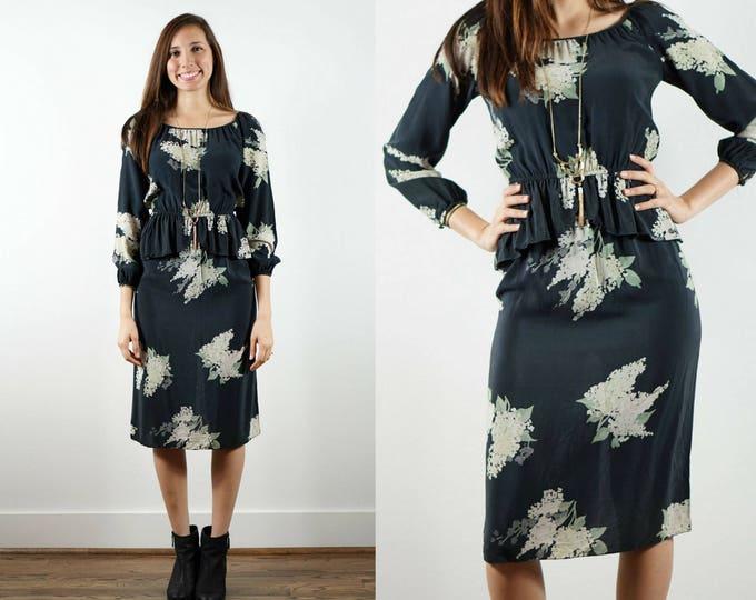 Featured listing image: 1970s Black Silk Peplum Dress