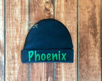 Personalized beanie/Monogramed Baby Hat/ Monogrammed newborn hat/ Personalized newborn baby hats/ Personalized baby beanie/ Navy and Green