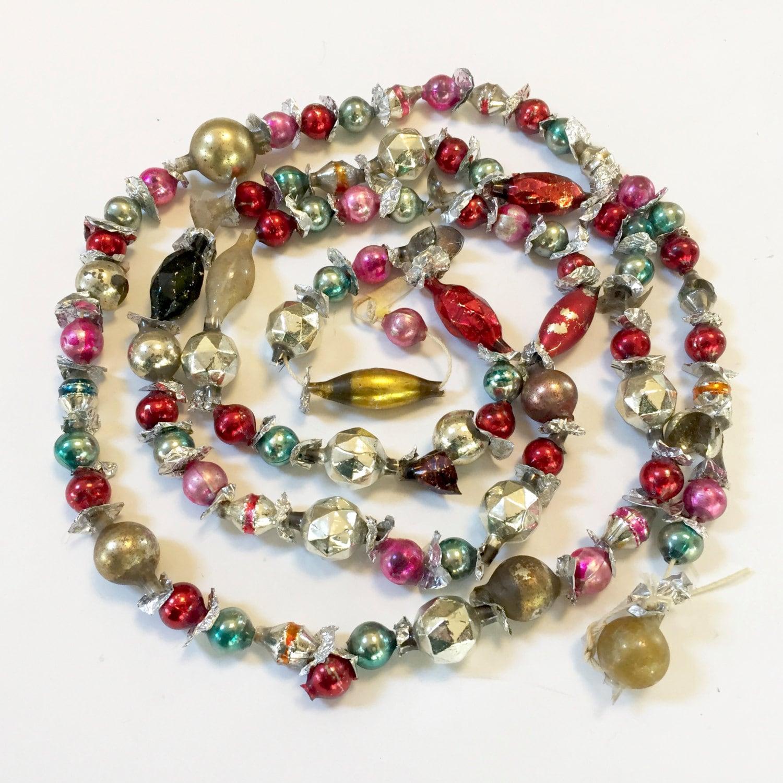 Vintage christmas garland glass bead beaded teal pink