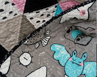 Modern Triangle Quilt for a Baby Girl