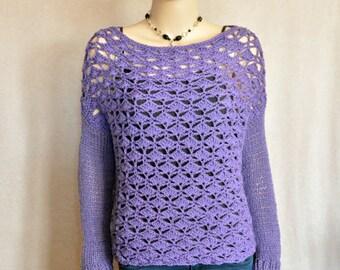 Purple Dropped Shoulder Sweater, Boho sweater, Bohemian Pullover, Hipster pullover, purple pullover, Crochet Sweater, Crochet Pullover